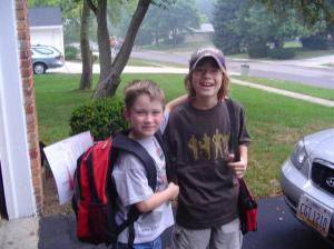 First day of school - 1st grade and 6th grade.  I treasure this memory.
