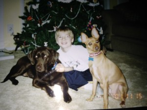 Drey with Rudy & Pierre.   Ready for Christmas. 2001